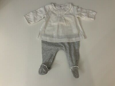 Mayoral Baby Girls Outfit, Set, White & Grey Age Newborn, VGC
