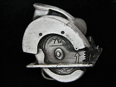 "Pf03121 Vintage 1979 Cut-Out **7 1/4"" Combination Blade Saw** Tools Belt Buckle"