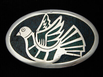 QL11168 VINTAGE 1970s **DOVE** SOUTHWESTERN DESIGN ART BELT BUCKLE