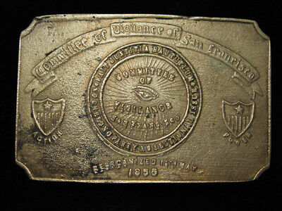QL25158 VINTAGE 1970s *COMMITTEE OF VIGILANCE SAN FRANCISCO* SOLID BRASS BUCKLE