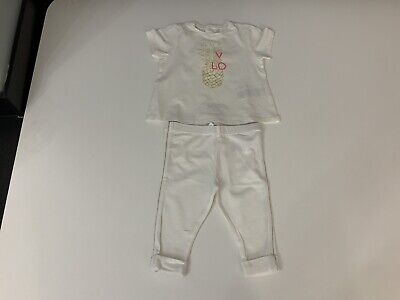 Chloe Baby Girls Outfit, Set, Size Age 6 Months, White, Vgc