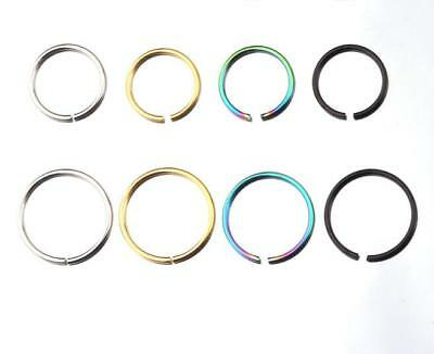 316L Surgical Steel Nose Ring Hoop Cartilage Tragus Helix Lip Ear NON-PIERCED UK