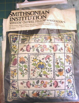 "Smithsonian Instition ""Window Crewl Pillow"" by Mazaltov's 14"" Square"