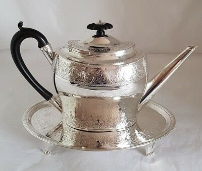 A George lll sterling silver Tea pot & Stand. Both London 1796 .By Henry Green