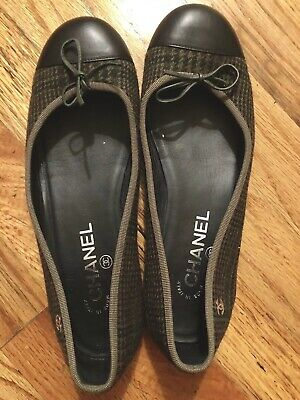 9f3fa71ec31 Authentic Chanel Women s Ballerina Flats - Size 37.5 Pre-owned - Black And  Olive