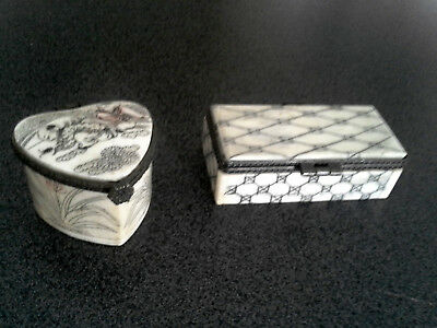 VINTAGE CHINESE BONE BOXES pill box trinket box