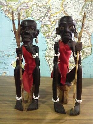 African Hand Carved & Painted Pair of Maasai Art Figures