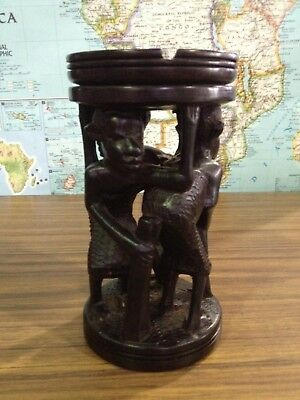 African Hand Carved & Turned Ebony Ashtray Art Figures