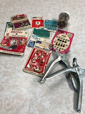 Vintage Sewing Notions / findings - hooks, eyes, loops and snaps and 2 tools