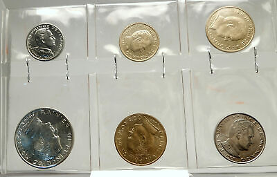 1962-1966 MONACO King Rainier III Antique Genuine 6 Coin Set 1 Silver i76366