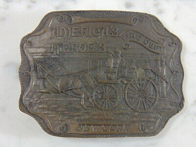 Vintage Collectible American Firefighter Fire Truck NYFD Belt Buckle