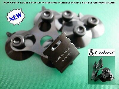 1 x Windshield Mount Bracket+6 BLK Cup For The All Cobra Radar Detector Models