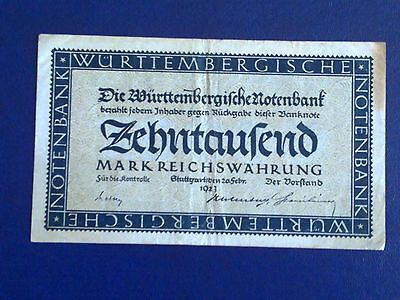 Germany - 10 000 Mark  Banknote 1923- Stutgart-Inflation - Very Fine