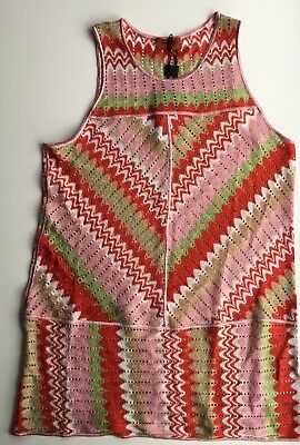 2aafed160256 NWT Authentic MISSONI Mare Crochet KAFTAN COVER-UP Short Beach Dress Sz 44