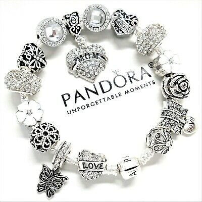 Authentic Pandora Charm Bracelet SILVER & WHITE LOVE FAMILY HEART European Beads