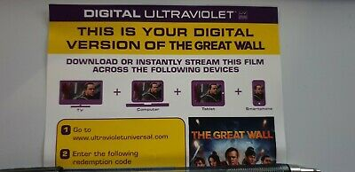 The Great Wall - Ultraviolet Code from a 4k UHD Bluray