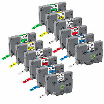"12PK Compatible/Brother p-touch printer TZe131-731 12mm 0.47"" Label Tape PT-D200"