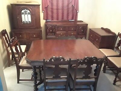 Antique Dining Room Set China Cabinet Table Buffet Server 6 Chairs