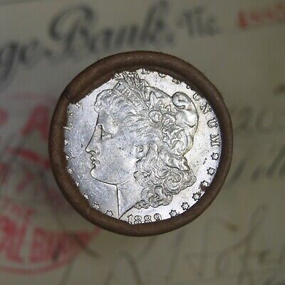 Silver Dollar Roll $20 Morgan Peace 1879 & 1889 End Coins Mixed Date Grades