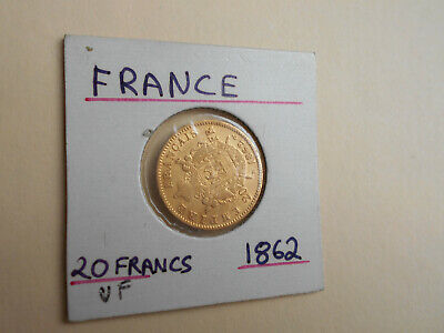 France 1862 BB Gold 20 Francs Coin Napoleon III Emperor In VF Condition