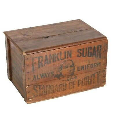 Antique Franklin Sugar Wooden Shipping Crate with hinged lid