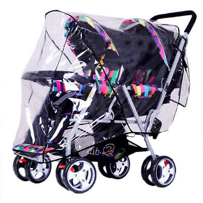 Baby Stroller Twins Rain Cover Double Wind Shield Foldable Pushchair Raincoat