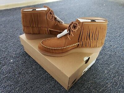 f035968541e 💗 NIB 💖 UGG Womens Caleb Chestnut Brown Fringe Moccasin Wedge Ankle Boots  US 6
