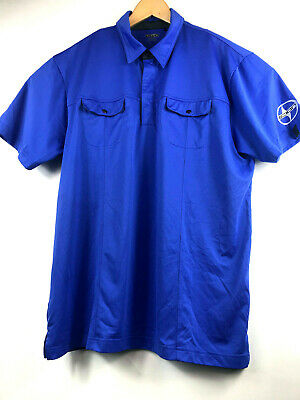 a4b2bbff310f OGIO Mens Blue Short Sleeve Snap Button Polyester Polo Golf Shirt size XL  Scion
