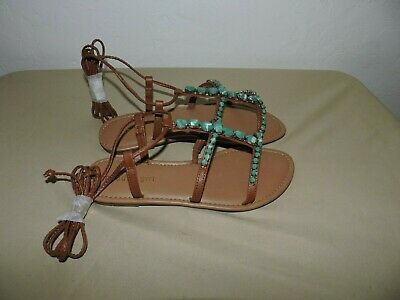 a7284519b9d7 New Steve Madden Madden Girl Kalipsoo Turquoise Ankle Strap Sandals Womens  6.5