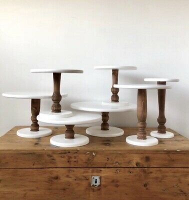 rustic wooden cake stand - wedding cake stand - pedestal cake stand