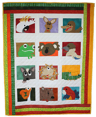 Australian Animals Patchwork pattern- cot size Exclusive Australian Design