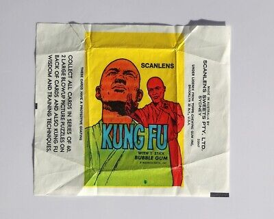 Scanlens Kung Fu Collectible Card Wrapper - Bubble Gum Card Wax Paper - 1970s