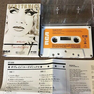 EURYTHMICS Savage JAPAN CASSETTE RPT-8390 w/SLIP CASE+INSERT Annie Lennox FreeSH