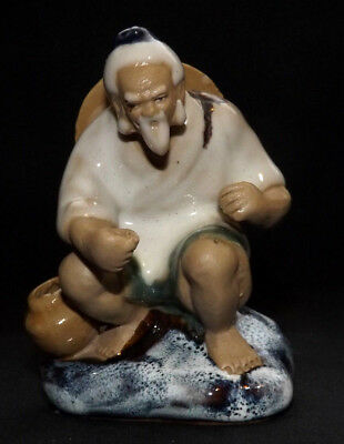 Vintage Chinese Shiwan Mudman Figurine / Statue / Ornament Of a Fisherman