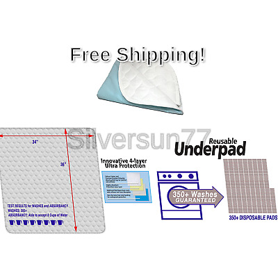 "RMS Ultra Soft 4-Layer Washable and Reusable Incontinence Bed Underpads, 34""X..."