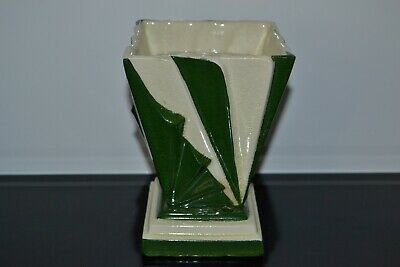 Vintage Art Deco Green and White Pottery Vase with Flower Frog