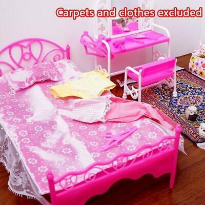 Fashion Pink Bed Dressing Table & Chair Set For Kid Dolls Bedroom Furniture