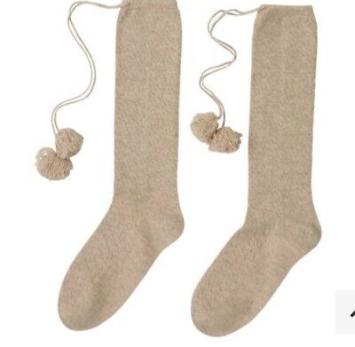 100% Cashmere Taupe Knee Length Pom Pom Socks By Laycuna London BNWT    Tissue 235b2eff56ed