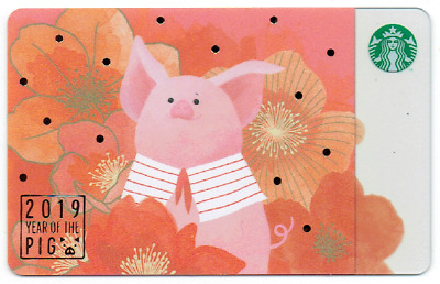 New 2019 Starbucks Taiwan Coffee Gift Card Year Of Pig Asia Free Shipping #269