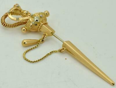 Rare antique Victorian 18k solid gold Sword shaped Lapel Pin in box.Very unusual