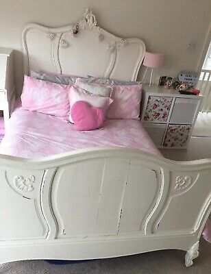 "Antique original French painted 4ft 6"" double bed with carved detailing"