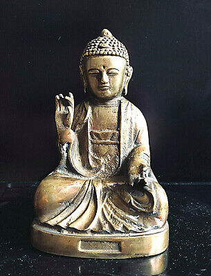 Alte Buddha Figur in Meditation- Messing. China Feng Shui