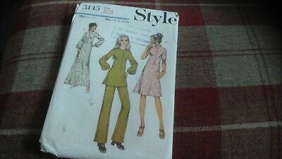 Vintage Style Sewing Pattern 3145 1970s Dress Tunic and Trousers