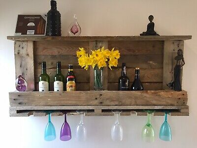 Rustic Wooden Wine Bottle Holder And Glasses Rack Hand Built