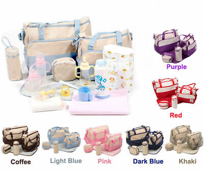 5pcs Baby Nappy Changing Bag Set Diaper Bags Shoulder Handbag Mommy Bag Newborn4