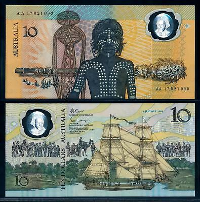 [94883] Australia 1988 10 Dollars 1st Comm. Polymer Bank Note Series AA UNC P49a
