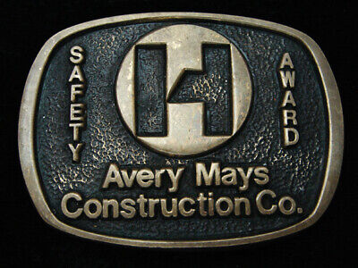 QK09111 VINTAGE 1970s **AVERY MAYS CONSTRUCTION CO.** SOLID BRASS BELT BUCKLE