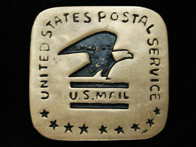 PF03136 VINTAGE 1970s **UNITED STATES POSTAL SERVICE** SOLID BRASS BARON BUCKLE