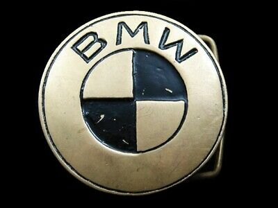 RJ09165 VINTAGE 1970s **BMW** LOGO SOLID BRASS BARON BELT BUCKLE