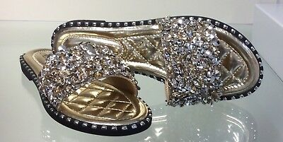 Diamante Bling Sandals// Sliders Silver Size 4// 37 NWB